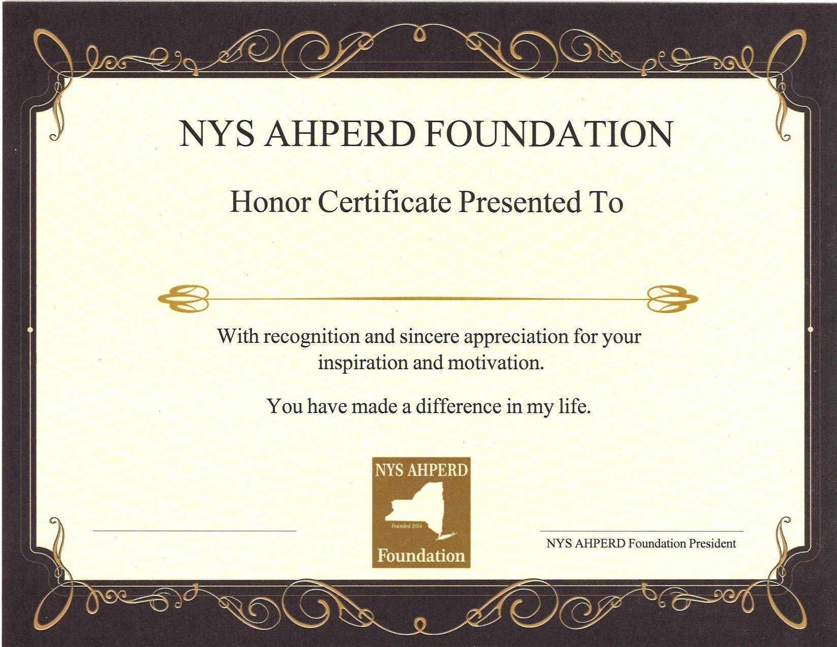 honor certificate 2016